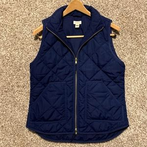 JCREW Quilted Navy Vest; Size Small